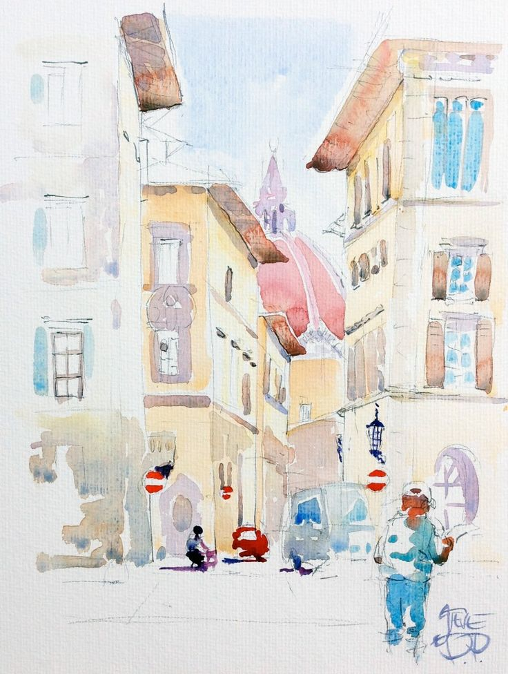 Looking for the Duomo, Florence, Italy - Watercolour painting by Steve PP | Painting Florence. | Pinterest | Watercolor, Painting and Watercolor paintings
