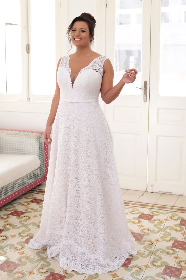 Straight plus size wedding dresses