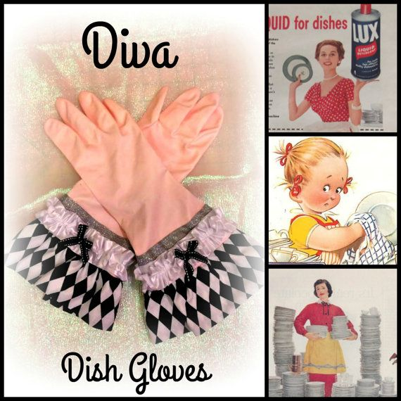 Retro glamour diva dish/cleaning gloves by MimisNeedleandThread
