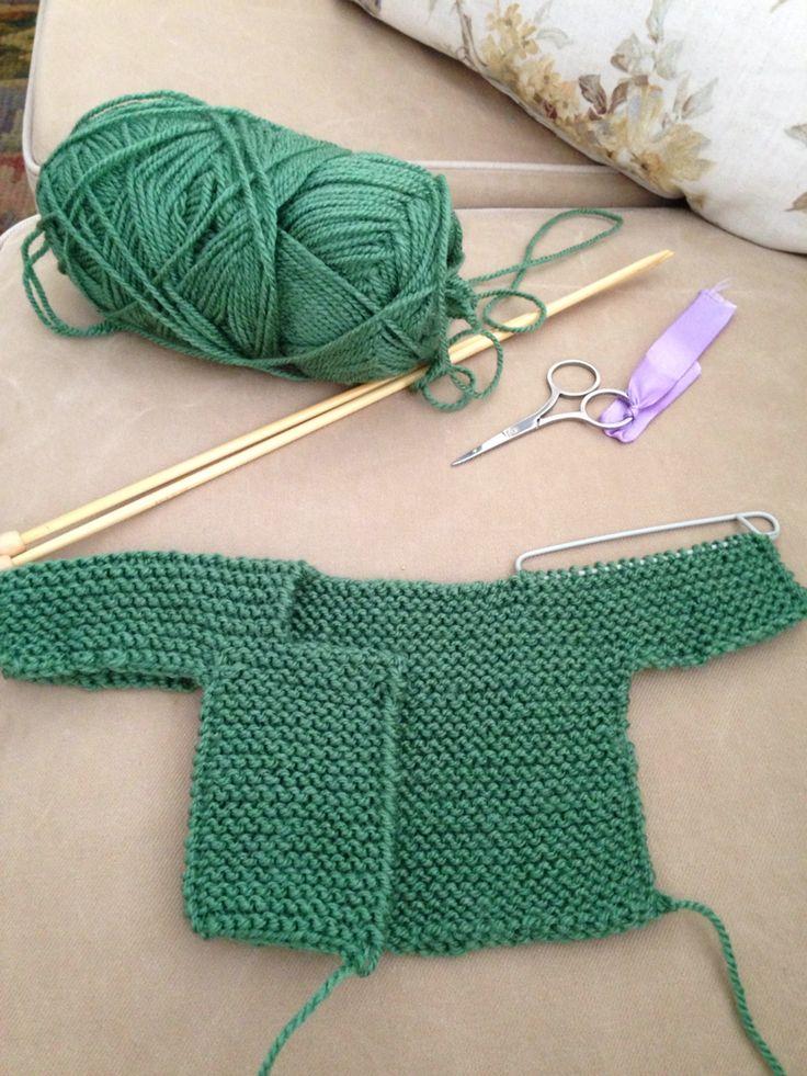Chaqueta bebe punto derecho. Knitting