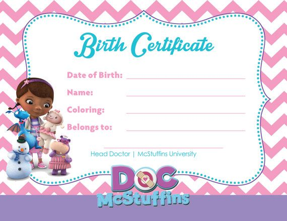 388 best Doc McStuffins 1st Birthday Party images on Pinterest - mock birth certificate