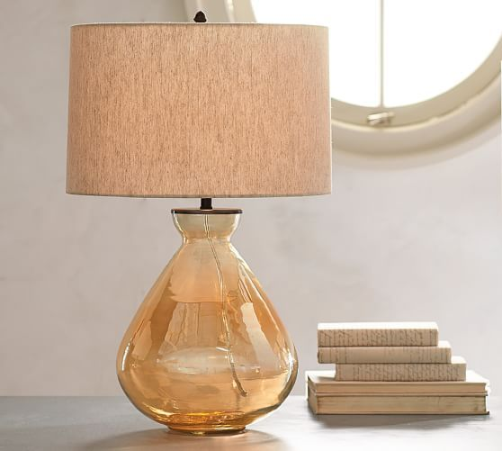 Alana luster glass table lamp base amber