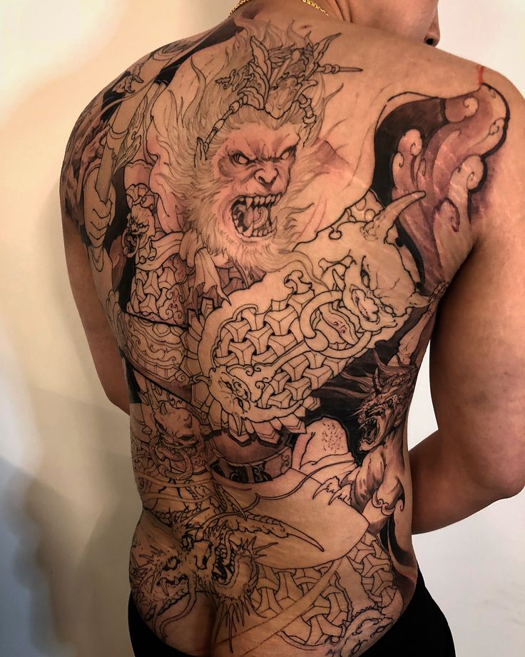 Monkey king, dragon and demons  @chronicink @inkworkshops