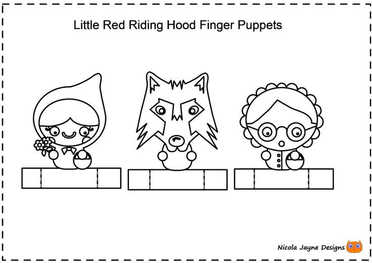 Little red riding hood finger puppets. Colour, cut out, stick and play.