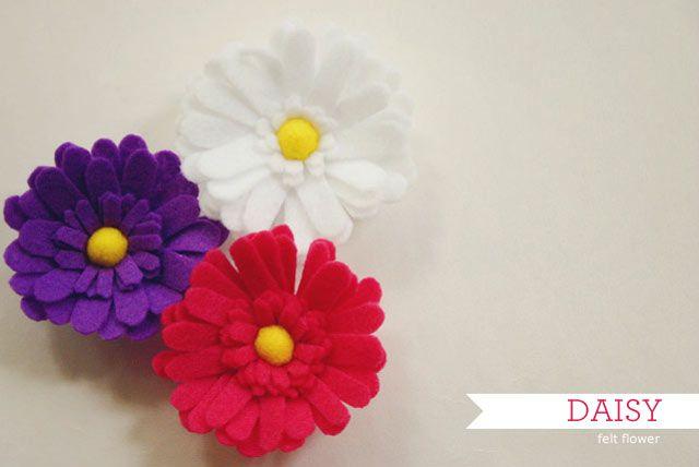 felt: Felt Flower Patterns, Felt Flower Asap, Felt Flower Templates, Crafts Flowers, Felt Flowers Patterns, Beautiful Flowers, Felt Daisy, Bows Flowers