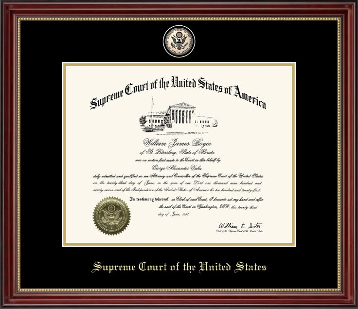 Supreme Court of the United States - Masterpiece Black Enamel Edition Certificate  Frame in Kensington Gold with Black & Gold Mats