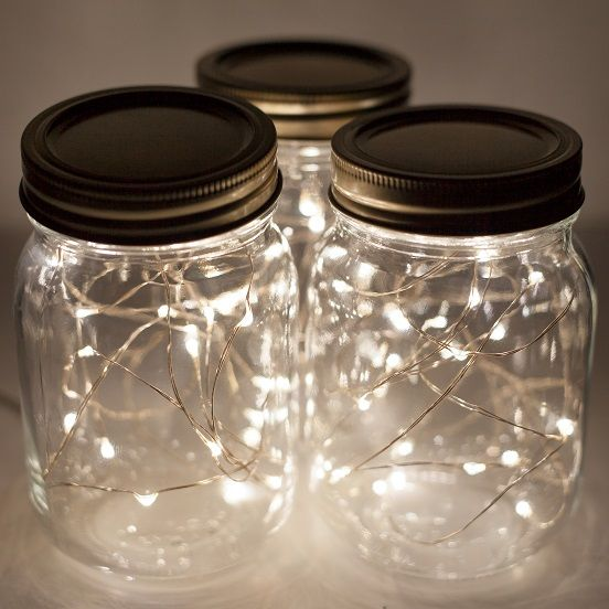 Battery-Operated LED Fairy Lights in Mason Jars--Perfect as a wedding centerpiece or on the patio. http://www.christmaslightsetc.com/Fairy-Lights--905.htm