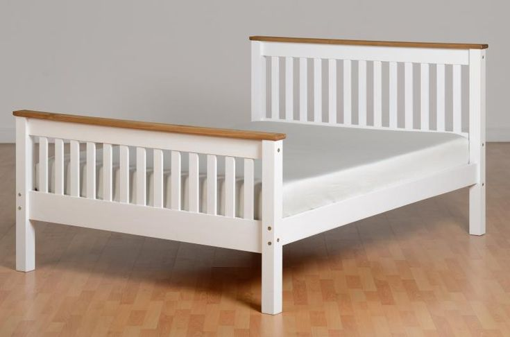 Sturdy and strong white and distressed pine wooden double bed frame with a shaker style finish and a high foot end design.FREE Express Delivery.