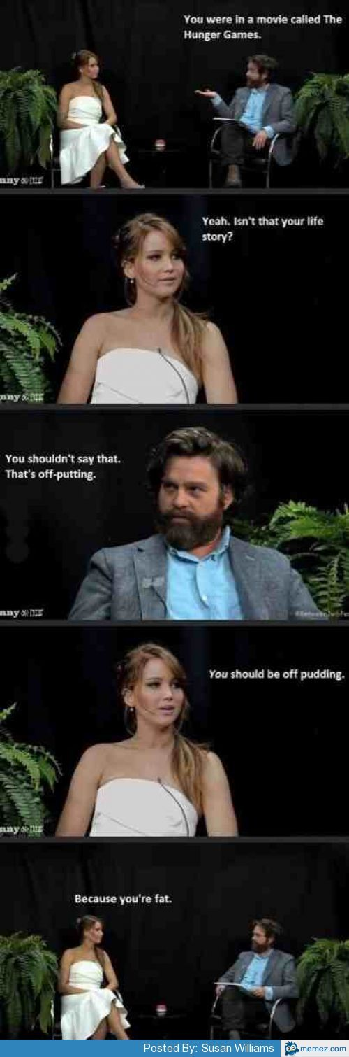 Jennifer Lawrence and Zach Galifianakis
