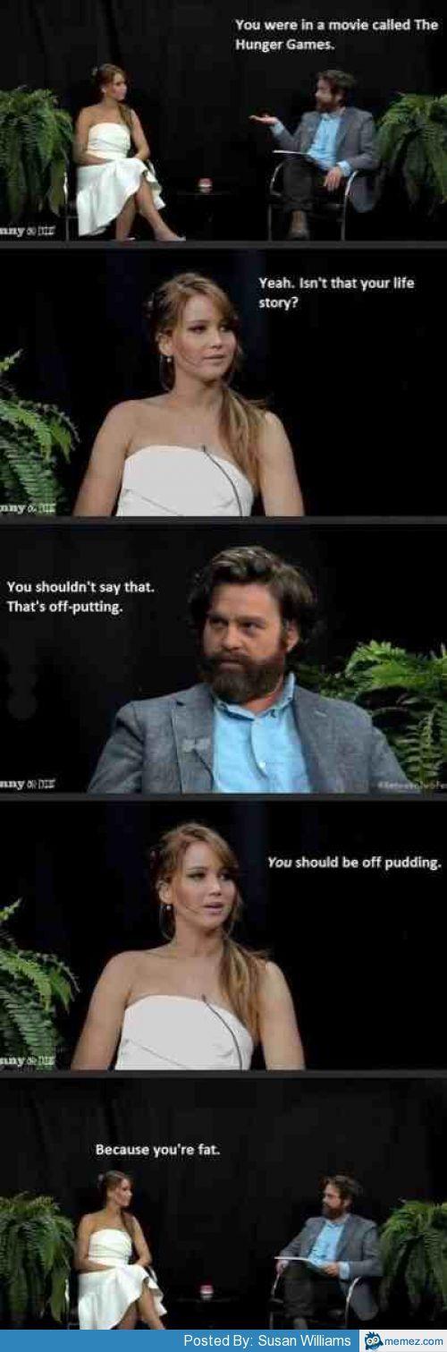 Jennifer Lawrence and Zach Galifianakis