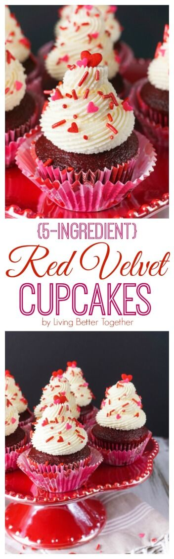 These 5-Ingredient Red Velvet Cupcakes are so easy to make, with a 2-ingredient red velvet base and a 3-ingredient cheesecake frosting, what's not to love! Whip them up for your Valentine in no time! via @sugarandsoulco