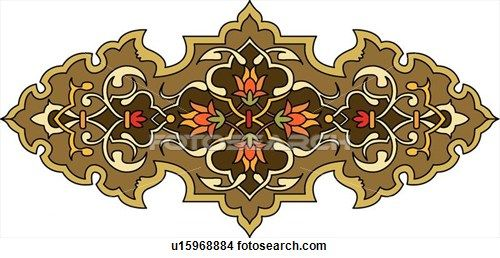 Clipart of Brown and Orange Floral Arabesque Design u15968884 - Search Clip Art, Illustration Murals, Drawings and Vector EPS Graphics Images - u15968884.eps