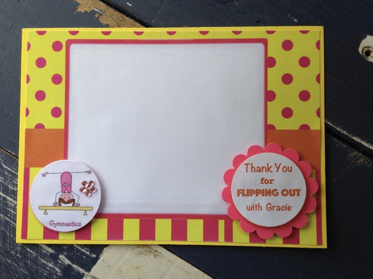 Handmade Gymnastics Party Thank You Card