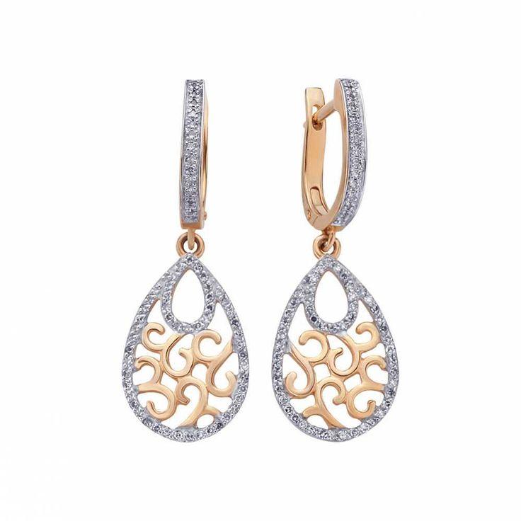 Серьги золотые с бриллиантами , купить | Серьги | Ювелирные изделия, украшения | Ювелирный магазин 585 Gold