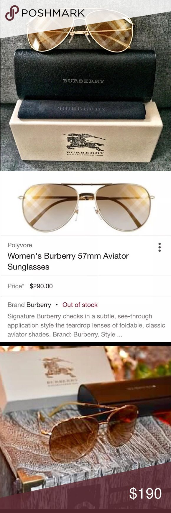 Burberry Signature gold tone aviator sunglasses This pair of sunglasses was worn with love for a very short period before I needed to switch to prescription tinted glasses.  Imagine this under your  just in time for the holiday!! Burberry Accessories Glasses