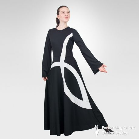 """Dress made from stretch pique knit fabric with contrasting """"ichthys"""" inset. Zipper back. 100%Polyester. Great for modern, contemporary and liturgical, mime praise dance performance. Colors: Black/Red, Black/White, Red/White, Royal Blue/White, Purple/White. Sizes Child's: MC, LC, XLC Adult's: XS, SA, MA, LA, XLA Women's: 1X, 2X, 3X."""