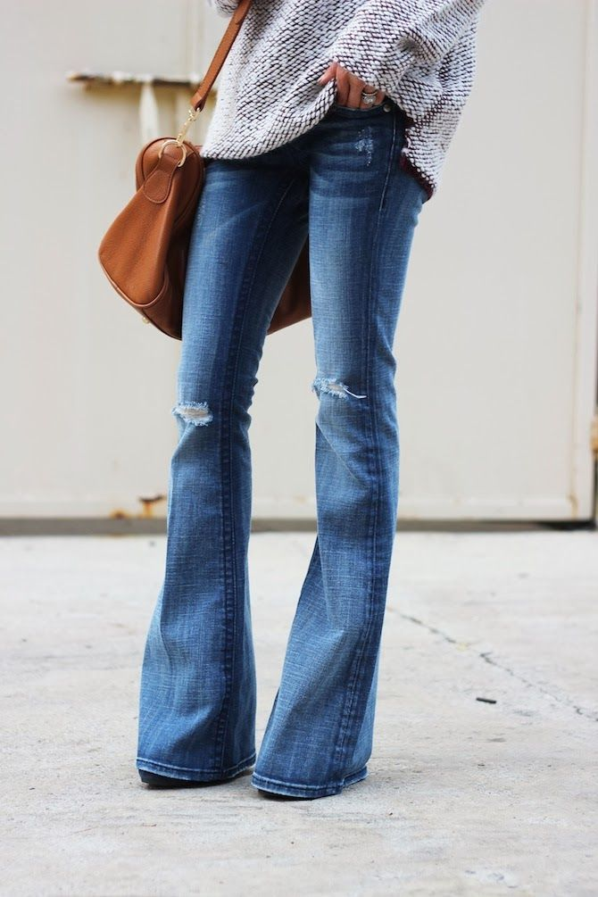 Bell bottoms + oversized knits for fall