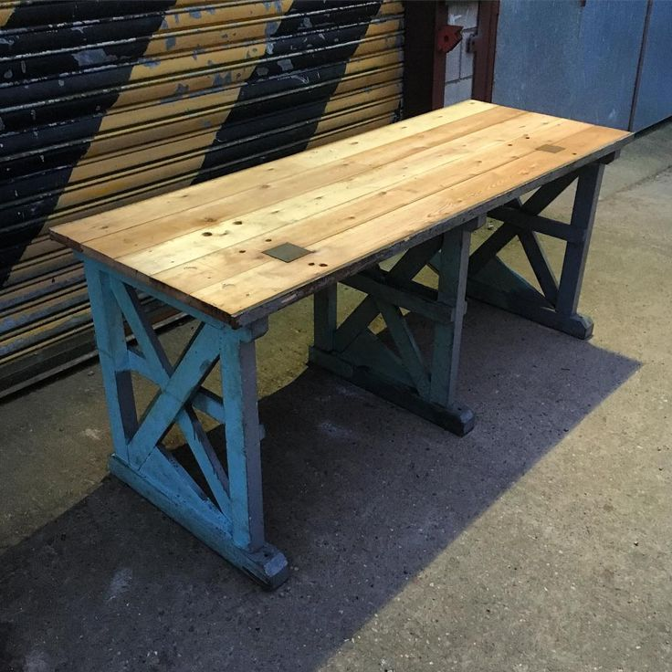 Vintage Industrial Work Bench. Ideal Desk/ Table/ Counter/ Kitchen Worktop.  Now