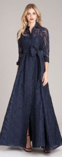 A ravishing Belted Collar Gown in Navy - a stunning look for the Mother of the Bride