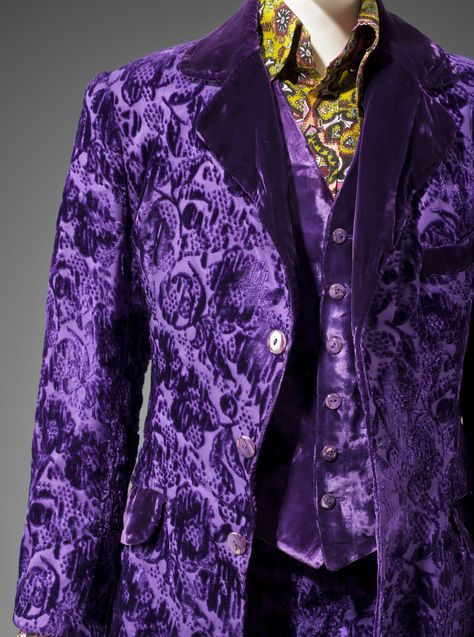 Gene Krell era Granny Takes A Trip three piece suit in purple velvet brocade, from the Museum of Fine Arts, Boston (MFA) Hippie Chic exhibition, 2013