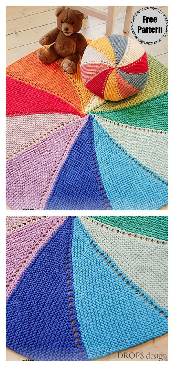 Color Wheel Round Blanket Free knitting Pattern # ...