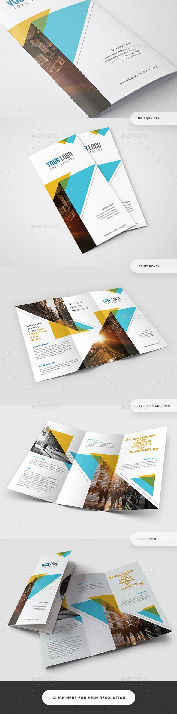 Colorful Triangle Trifold Design Template - Catalogs Brochures Design Template PSD. Download here: https://graphicriver.net/item/colorful-triangle-trifold/19400424?ref=yinkira