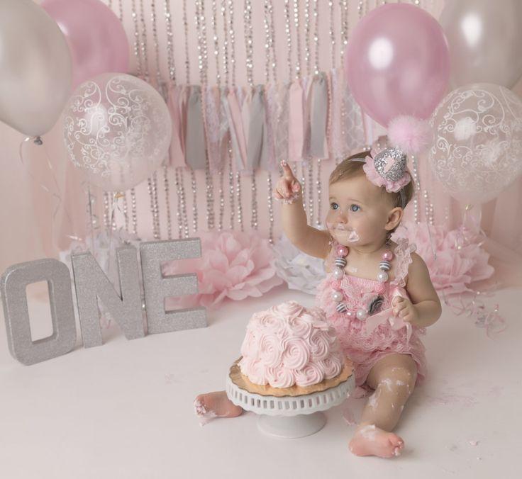 year birthday invitatiowordingiindiastyle%0A West Palm Beach photographer  cake smash  pink and silver  one year session