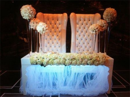 balmelli creative events weddings bride groom table design with recessed florals led
