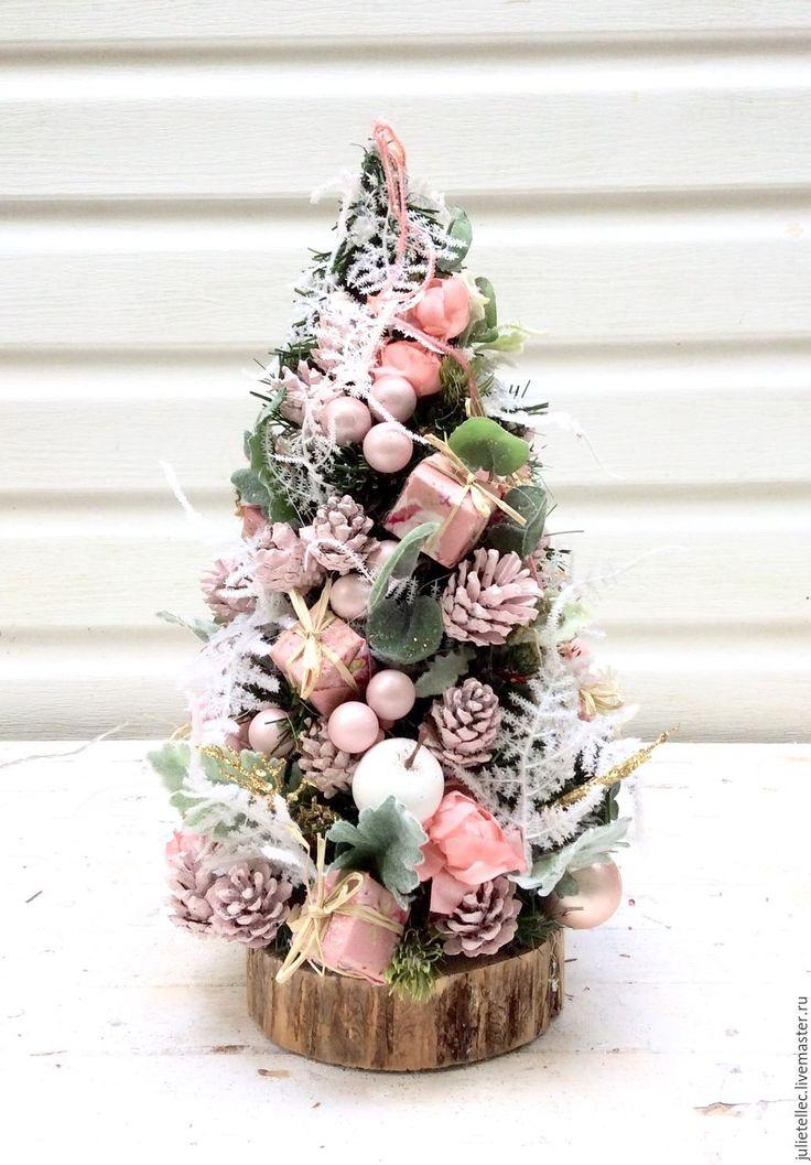 Купить Настольная елочка шебби - бледно-розовый, Новый Год, рождество, елка, настольная елка