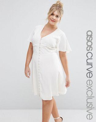 ASOS CURVE Tea Dress with Button Through