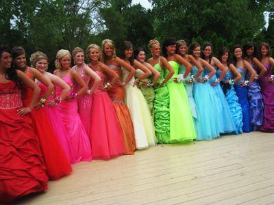 Rainbow prom dresses.