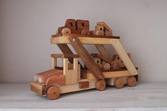 Car Transporter 4 Cars Etsy In 2020 Wooden Educational Toys Kids Wooden Toys Wooden Toys