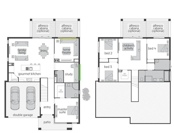 The Horizon Split Level floor plan by McDonald Jones. #mcdonaldjones #floorplan #splitlevel