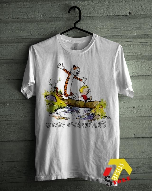 Calvin and Hobbes T-shirt C&H crossing Bridge best comic Shirt all sizes