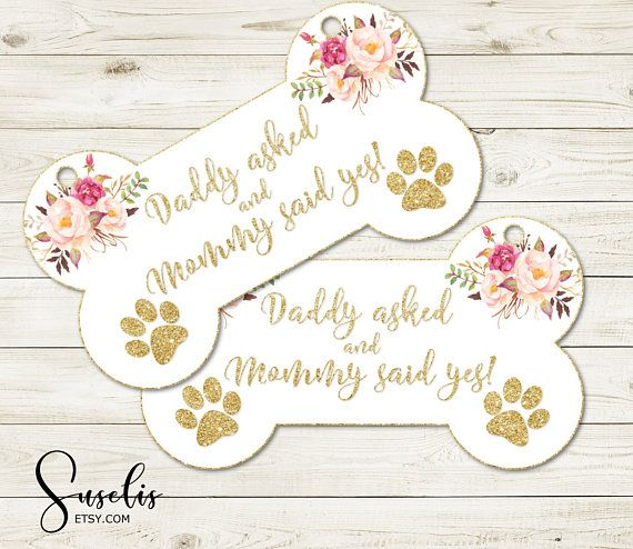 Printable Engagement Photo Prop Dog sign Floral Daddy asked