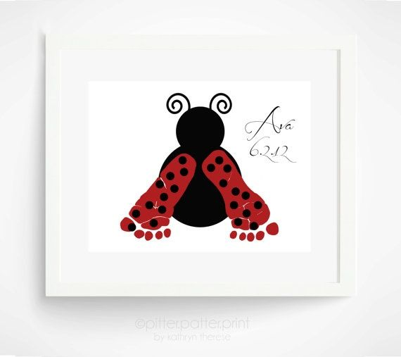 Baby Handprint Art | Baby Footprint Ladybug Nursery Art Print by ... | Handprint Art