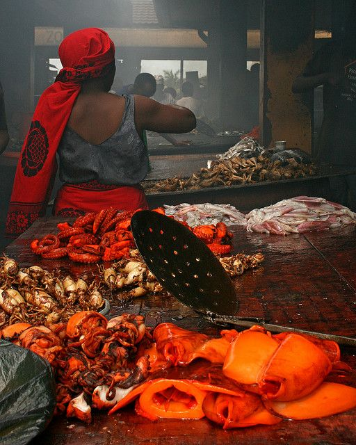 BBQ squid in Dar Es Salaam, Tanzania