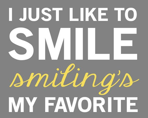 Elf Quote - Smiling's My Favorite - 8x10 - Gray, White, Yellow, Green, Red on Etsy, $12.00