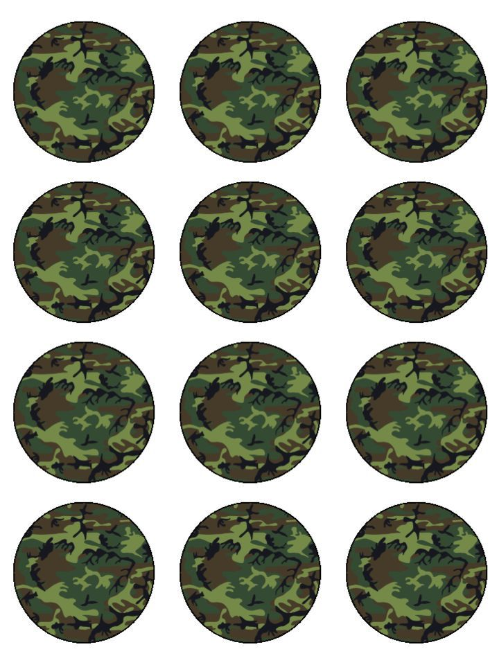 Army Camouflage Edible Icing Cupcake Toppers