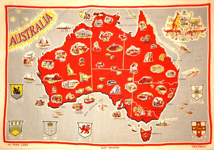 Australia Emblems Map Souvenir Linen Tea Towel - Vintage Mid Century 50s Australiana Old Keltic - New Old Stock by FunkyKoala on Etsy