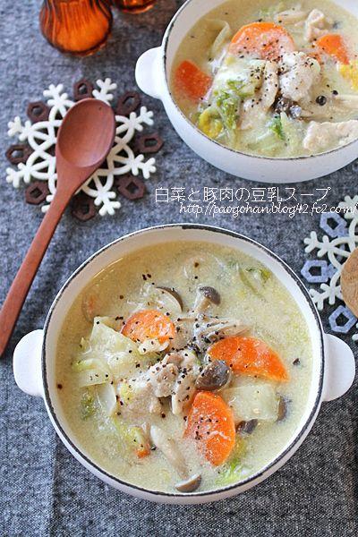 簡単ヘルシー!白菜と豚肉のとろみ豆乳味噌スープ ぱおのおうちで世界ごはん☆