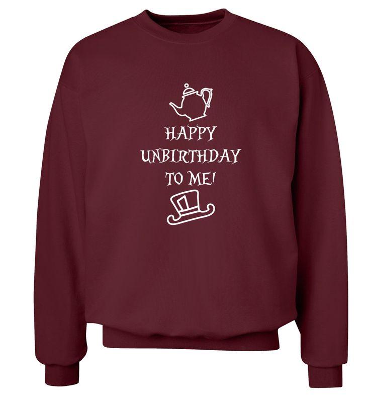 New to FloxCreative on Etsy: Happy unbirthday to me! jumper funny joke gift quote Alice book geek nerd instagram hipster cute tumblr grey black sweatshirt pullover 64 (22.95 GBP)