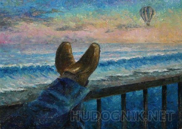 вечерний блюз Море,небо,воздушный шар,ноги