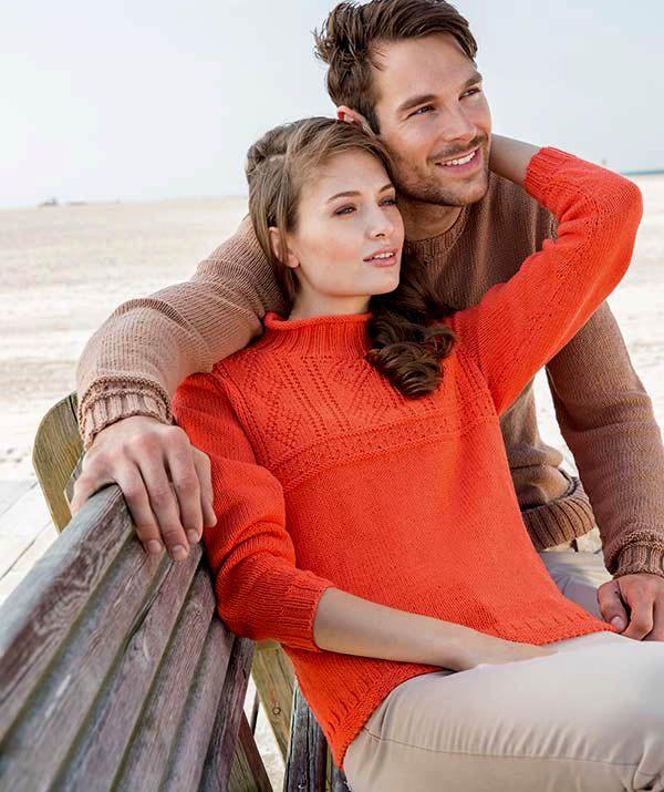 женский пуловер с рельефным узором, женский свитер, вязание для женщин, оранжевый пуловер, мужской бежевый свитер с рельефным узором, мужской свитер, вязание для мужчин, мужской пуловер, свитер мужской, вязание для мужчин, вязание спицами