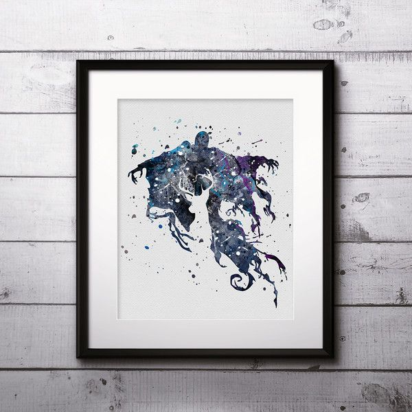 Watercolour paintings – Dementor Harry Potter Print Watercolor poster – a unique product by DigitalAquamarine on DaWanda