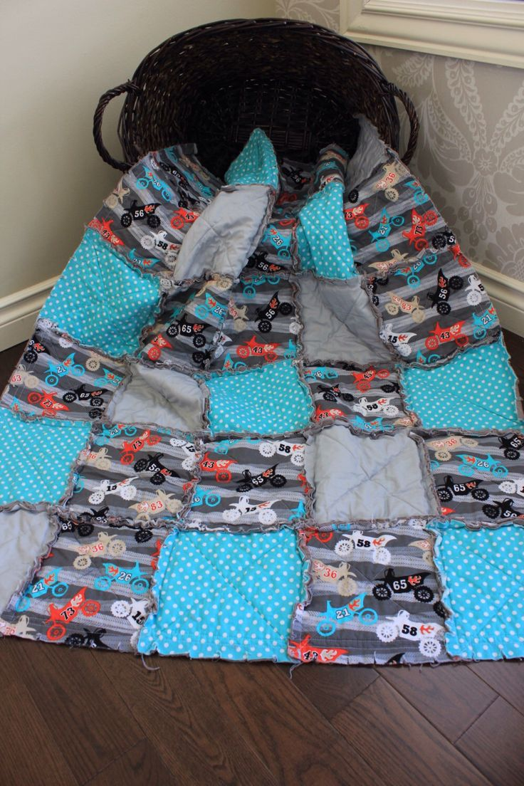 Crib size quilts for sale - Baby Rag Quilt Dirt Bike Baby Quilt Motocross Black And Grey Crib Quilt Ready To Ship
