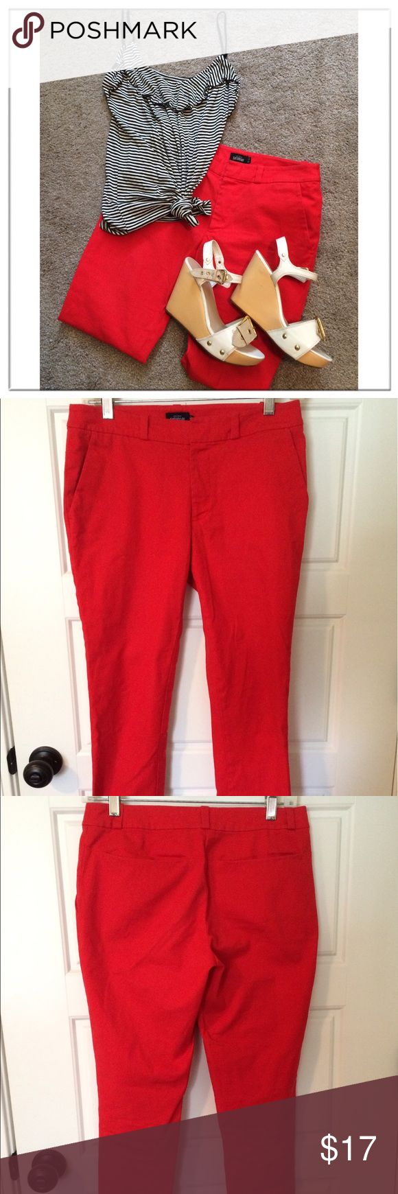 Kate Spade Skinny Pants Hardly worn! Red skinny pants. Size 00 buy fit more like a 0. 98% cotton and 2% elastane. Perfect for work. Double book front. Two front and back pockets. kate spade Pants Skinny