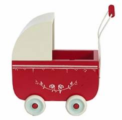 this is adorable.: Ideas, Sweet, Red, Stuff, Kids Room, Toys, Maileg, Baby, Wooden Pram