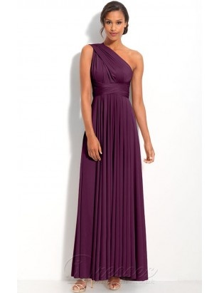 Casual Burgundy Sheath Ankle-length Chiffon One Shoulder Dress With Twist