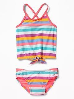 08cbaeafae38b Striped Tie-Hem Tankini Swim Set for Toddler Girls | Girls Clothes ...